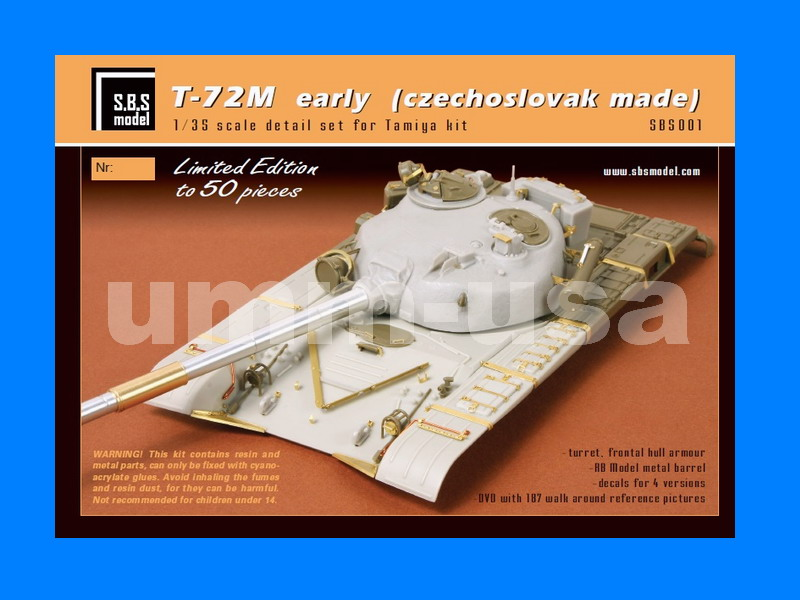 SBS Model 1//35 resin T-72M early front hull armour set for Tamiya 35006